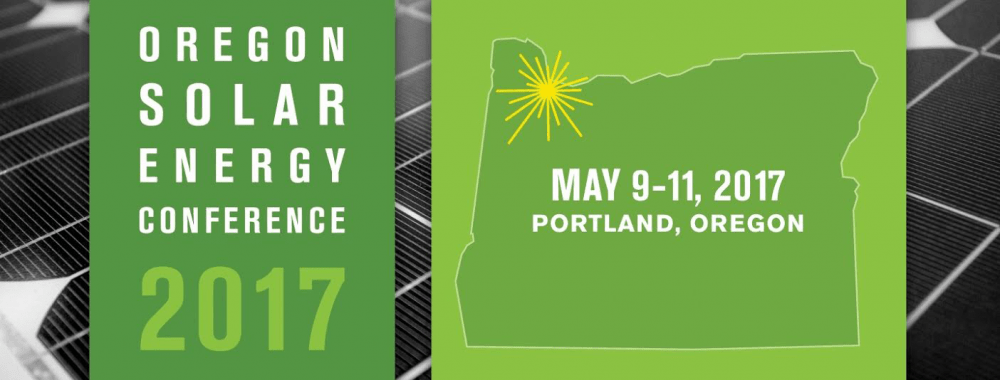 Solar panels in the background with 2017 Oregon Solar Energy Conference dates