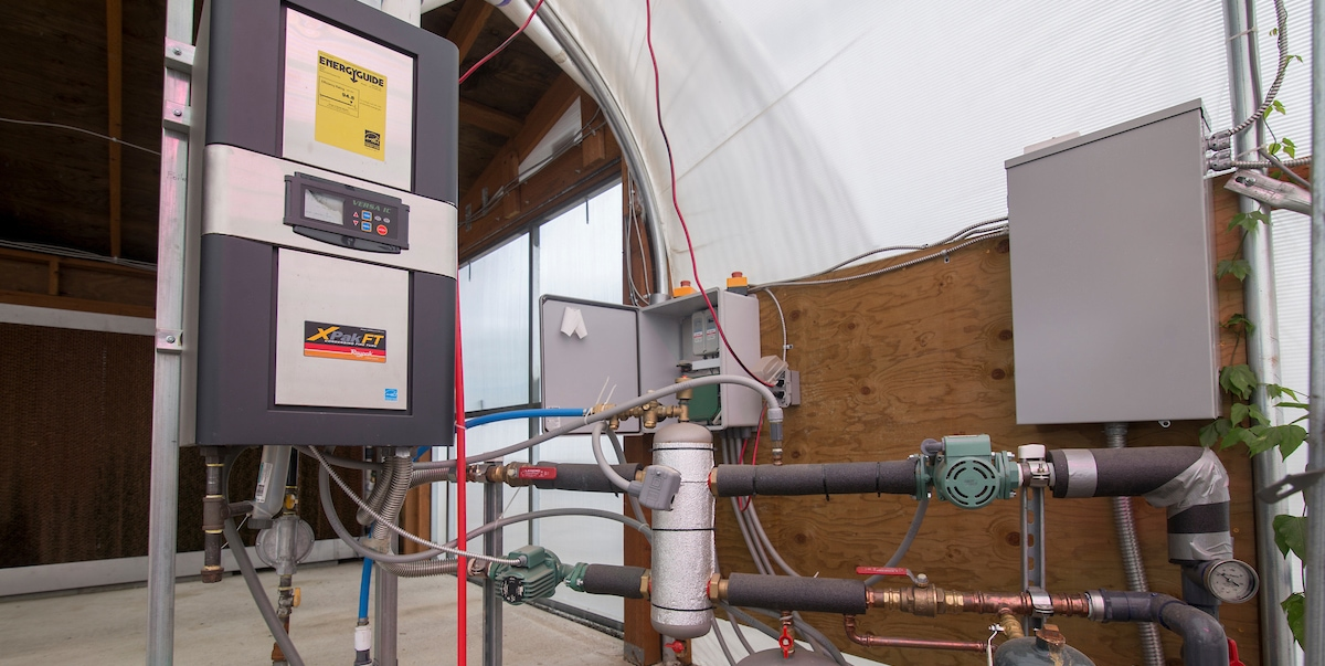 Hydronic boiler system in a new greenhouse at Little Prince of Oregon nursery, Aurora, Oregon.